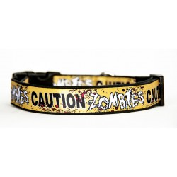 Caution Zombies The Walkind Dead Collar Perro Hecho A Mano HandMade Dog Collar